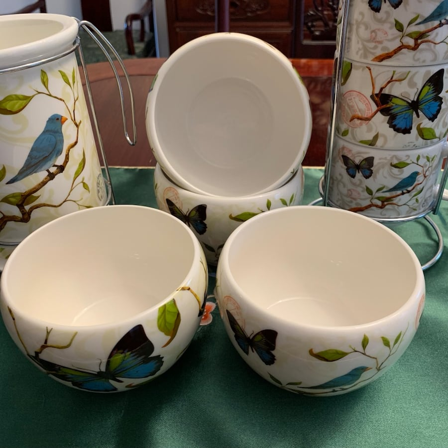 Cypress Home 12 pieces ceramic cups, bowls and spoons &folks stand 30dff05f-0170-467c-a124-854042b87bde