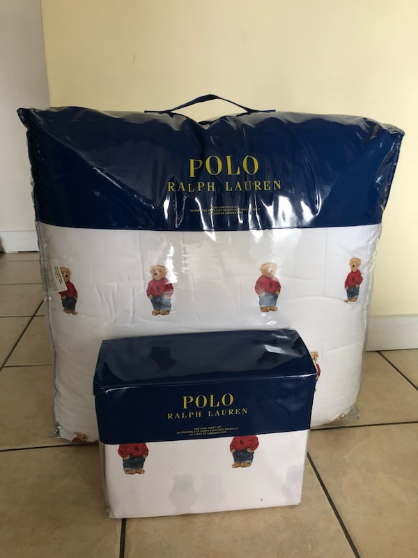 Used Ralph Lauren Polo Bear Queens Size Comforter And Sheet Set For