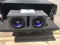 2 Boss onyx subwoofers with box, amp and all wiring