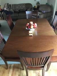 rectangular brown wooden table with six chairs dining set Millwood, 99206