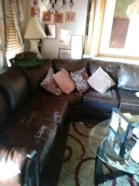 brown leather sectional couch with throw pillows Baltimore, 21224