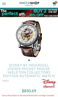 Limited edition Disney/Ingersoll Mickey Mouse automatic watch Calgary, T2K 2C4