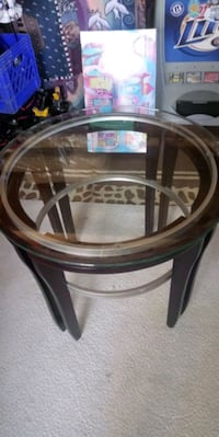 Glass top wooden round small table