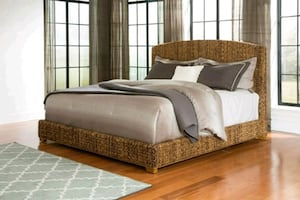 King Jute Bed without mattress set. New in boxes.