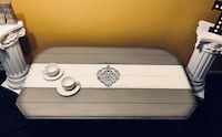 Stunning grey and white Wood coffee table with stone-like metal legs Kitchener, N2K 3W2