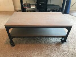 Coffee table with wheels (brown/weathered gray)