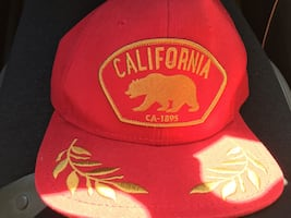 Red california embroidered snapback