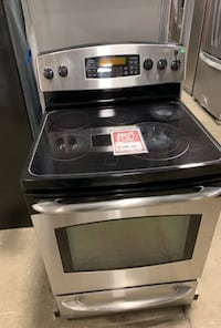 ✌Used GE glasstop electric stove stainless - Farmingdale