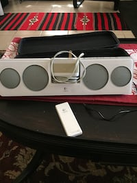 white and black bluetooth speaker