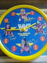 1991 WWF WRESTLING CLOCK HOGAN,WARRIOR WWE