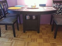 rectangular brown wooden table with four chairs dining set Montreal, H3J