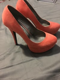pair of red suede platform stilettos Coquitlam, V3E 3C1