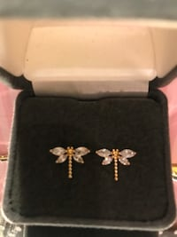 Pretty! Gold cubic Zirconia Dragonfly Earrings Gainesville, 20155