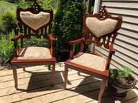 Two hand carved upholstered wooden chairs Burke, 22015