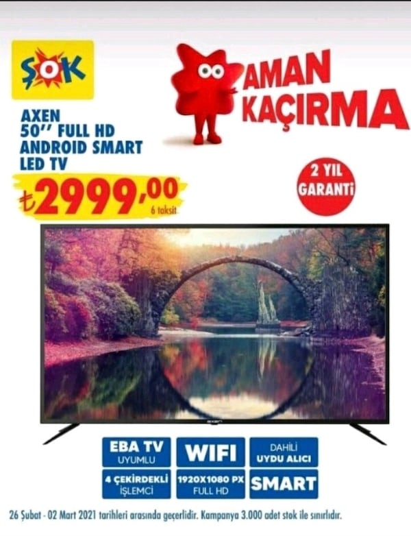 "AXEN 50"" FULL HD ANDROİD SMART LED TV 127 EKRAN 52b8cf8d-6dc1-4c82-9833-a9f6cada23c4"