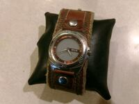 round silver analog watch with brown leather strap Hebron, 46341