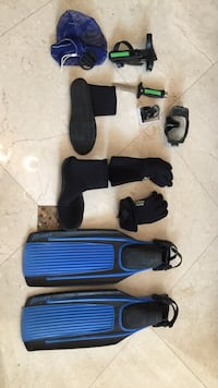 Snorkel / dive gear. fins-medium, boots, gloves, knife, mask and compass