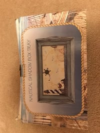 brown and blue Nautical shadow box tray box