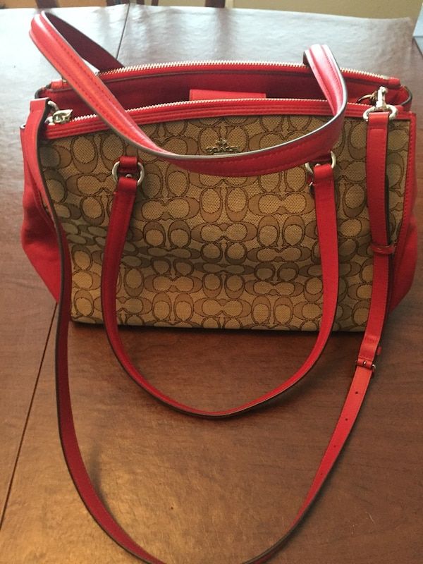 f0b3fd5c239 Used women s brown and red Coach monogram shoulder bag for sale in San Jose