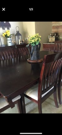 rectangular brown wooden table with chairs dining set Socorro, 79927