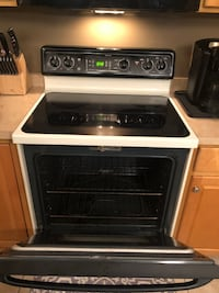 White and black induction range oven Rochester, 14612