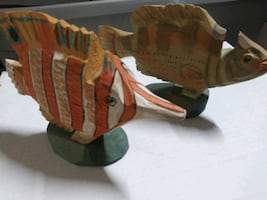 Wooden carved Fish glasses holders