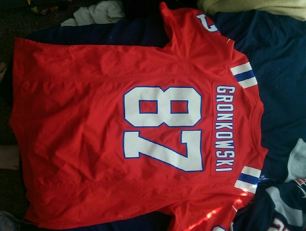 new concept a2bea 63cca red and white Gronkowski 87 jersey shirt