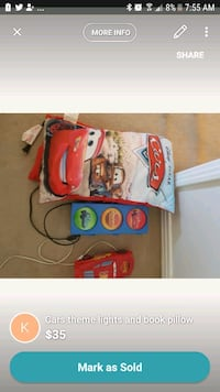 Cars theme lights and pillow book