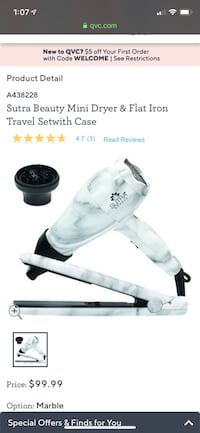 Travel straightener and blow dryer