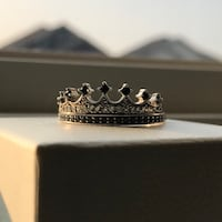 """Vancaro """"My king"""" engraved Black and silver diamond Queen ring (size 9) Bradford West Gwillimbury, L3Z"""
