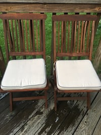 Outdoor Interiors Eucalyptus 2 Piece Square Bistro Outdoor Furniture Set - includes cushions (two chairs only) pickup only from Great Falls VA Great Falls