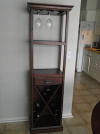 Dark cherry wine server & rack