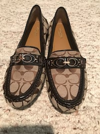 gray-and-brown Coach monogrammed loafers Willis, 77318