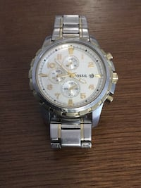 round silver chronograph watch with link bracelet Mississauga, L4Z 4G8
