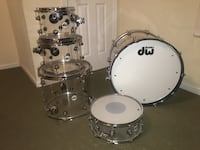 DW Design Acrylic Drum Set w/ Gator Cases Charlottesville