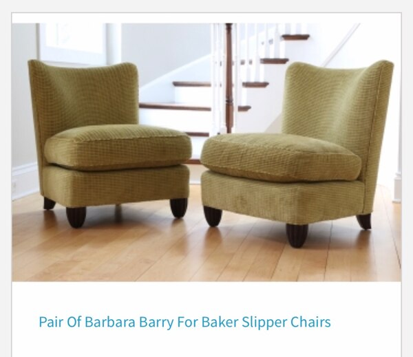 Awesome Barbara Barry For Baker Pair Slipper Club Chairs Excellent Condition Ibusinesslaw Wood Chair Design Ideas Ibusinesslaworg