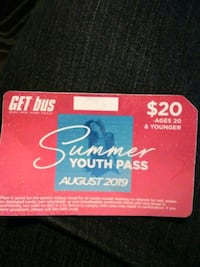 Summer youth bus pass