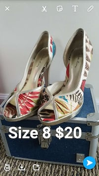 women's white-red-brown-and-black stilettos East Brookfield, 01515