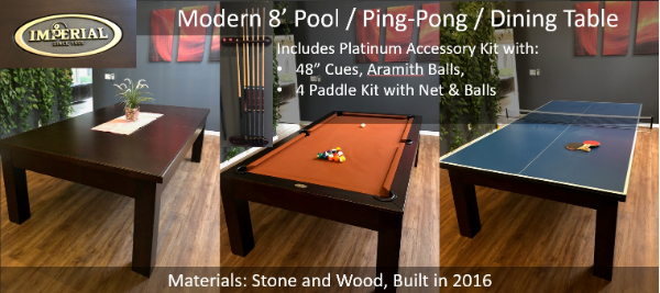 8 Pool Table Ping Pong Dining
