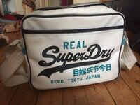 Mens Winter White/navy Superdry Mashup Alumni Shoulder Bag 6173 km