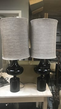 Black and light grey table lamp
