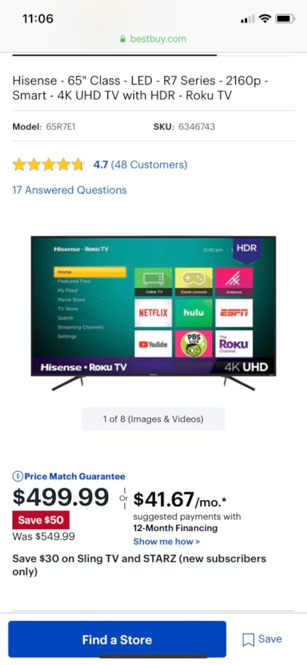 65 inch Hicense smart tv. 1 year old 8ce85381-893f-4dd9-ae2e-8d5195e5b715