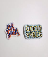 2 Text Patch Set (Sew On) Oh Yeah & Good Vibes London, SW8 2RE
