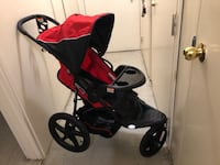 Baby's black and red jogging stroller + car seat Toronto, M1H 1A3