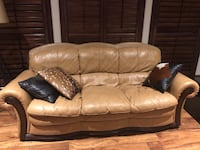 brown leather 3-seat sofa Leander, 78641