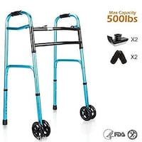 Oasisspace Heavy Duty Folding Walker, Bariatric Walker With 5 Inches Wheels For Seniors Wide Walker Supports Las Vegas