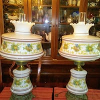 two white-and-green floral table lamps Brooklyn, 11236