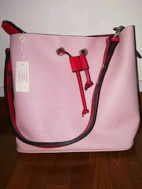 pink and brown leather 2-way bag Singapore, 470117