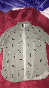 Green feathered button up shirt