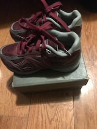 Pair of gray-and-maroon new balance sneakers size 11kids